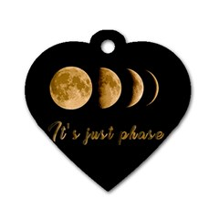 Moon Phases  Dog Tag Heart (one Side) by Valentinaart