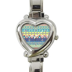 Tribal Print Heart Italian Charm Watch by BangZart