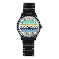Tribal Print Stainless Steel Round Watch by BangZart