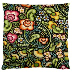 Bohemia Floral Pattern Large Flano Cushion Case (two Sides) by BangZart