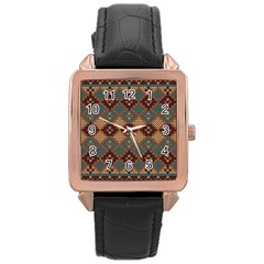 Knitted Pattern Rose Gold Leather Watch  by BangZart