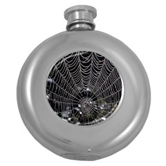 Spider Web Wallpaper 14 Round Hip Flask (5 Oz) by BangZart