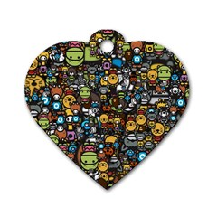 Many Funny Animals Dog Tag Heart (two Sides) by BangZart