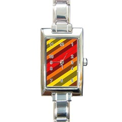Abstract Bright Stripes Rectangle Italian Charm Watch