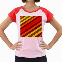 Abstract Bright Stripes Women s Cap Sleeve T-shirt