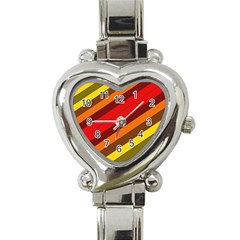 Abstract Bright Stripes Heart Italian Charm Watch by BangZart