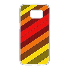 Abstract Bright Stripes Samsung Galaxy S7 Edge White Seamless Case by BangZart