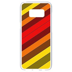 Abstract Bright Stripes Samsung Galaxy S8 White Seamless Case by BangZart