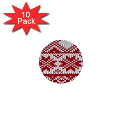 Crimson Knitting Pattern Background Vector 1  Mini Buttons (10 Pack)  by BangZart