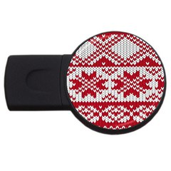 Crimson Knitting Pattern Background Vector Usb Flash Drive Round (2 Gb)