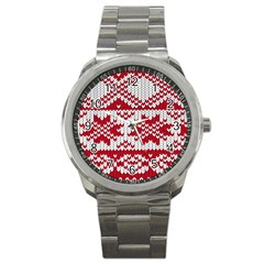 Crimson Knitting Pattern Background Vector Sport Metal Watch by BangZart