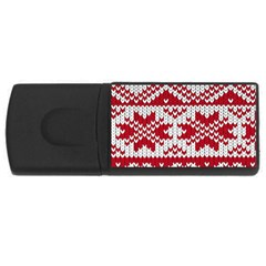Crimson Knitting Pattern Background Vector Usb Flash Drive Rectangular (4 Gb) by BangZart