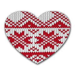 Crimson Knitting Pattern Background Vector Heart Mousepads by BangZart