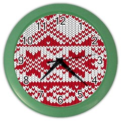 Crimson Knitting Pattern Background Vector Color Wall Clocks by BangZart