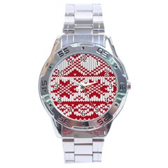 Crimson Knitting Pattern Background Vector Stainless Steel Analogue Watch by BangZart