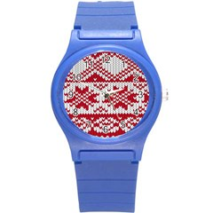 Crimson Knitting Pattern Background Vector Round Plastic Sport Watch (s) by BangZart