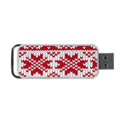 Crimson Knitting Pattern Background Vector Portable Usb Flash (one Side)