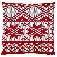Crimson Knitting Pattern Background Vector Large Flano Cushion Case (one Side) by BangZart