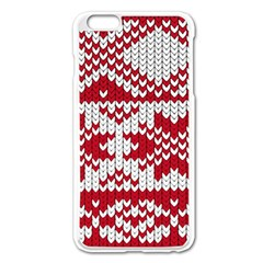 Crimson Knitting Pattern Background Vector Apple Iphone 6 Plus/6s Plus Enamel White Case by BangZart