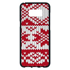 Crimson Knitting Pattern Background Vector Samsung Galaxy S8 Plus Black Seamless Case