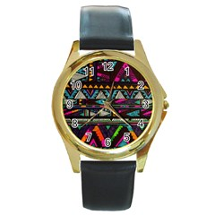 Cute Hipster Elephant Backgrounds Round Gold Metal Watch