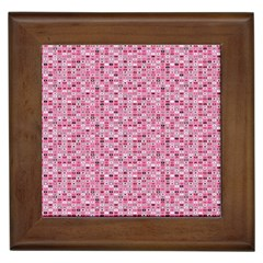 Abstract Pink Squares Framed Tiles by BangZart