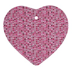 Abstract Pink Squares Ornament (heart) by BangZart