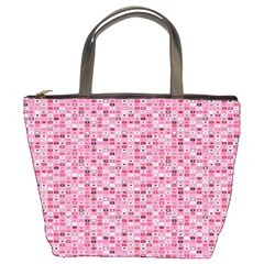 Abstract Pink Squares Bucket Bags by BangZart