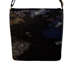 World Map Flap Messenger Bag (l)  by BangZart