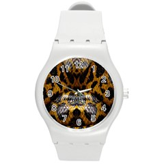Textures Snake Skin Patterns Round Plastic Sport Watch (m) by BangZart