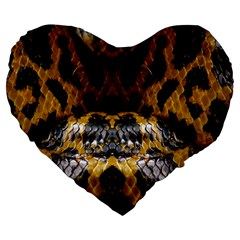 Textures Snake Skin Patterns Large 19  Premium Heart Shape Cushions by BangZart