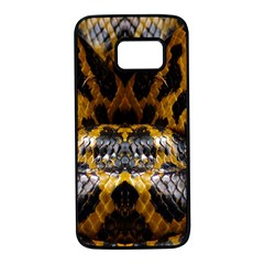 Textures Snake Skin Patterns Samsung Galaxy S7 Black Seamless Case by BangZart