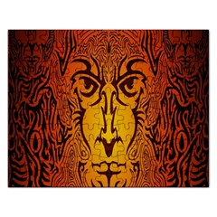 Lion Man Tribal Rectangular Jigsaw Puzzl by BangZart