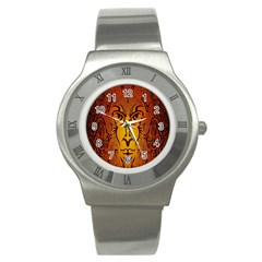 Lion Man Tribal Stainless Steel Watch by BangZart