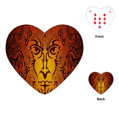 Lion Man Tribal Playing Cards (heart)  by BangZart
