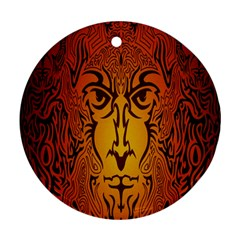 Lion Man Tribal Round Ornament (two Sides) by BangZart