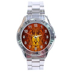 Lion Man Tribal Stainless Steel Analogue Watch by BangZart