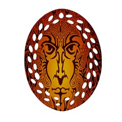 Lion Man Tribal Oval Filigree Ornament (two Sides) by BangZart