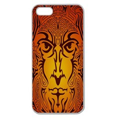 Lion Man Tribal Apple Seamless Iphone 5 Case (clear) by BangZart