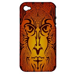 Lion Man Tribal Apple Iphone 4/4s Hardshell Case (pc+silicone) by BangZart