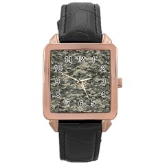 Us Army Digital Camouflage Pattern Rose Gold Leather Watch  by BangZart