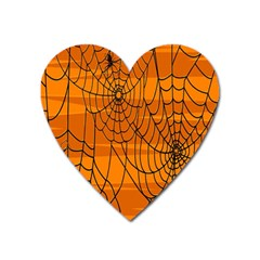 Vector Seamless Pattern With Spider Web On Orange Heart Magnet by BangZart
