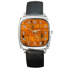 Vector Seamless Pattern With Spider Web On Orange Square Metal Watch by BangZart