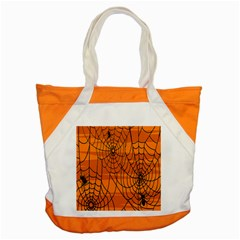 Vector Seamless Pattern With Spider Web On Orange Accent Tote Bag by BangZart