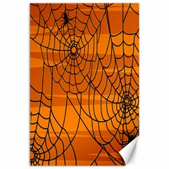 Vector Seamless Pattern With Spider Web On Orange Canvas 24  X 36  by BangZart