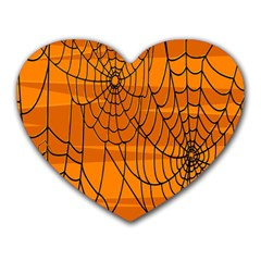 Vector Seamless Pattern With Spider Web On Orange Heart Mousepads by BangZart
