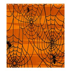 Vector Seamless Pattern With Spider Web On Orange Shower Curtain 66  X 72  (large)  by BangZart