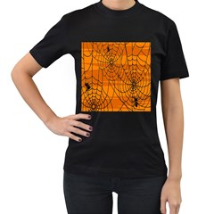 Vector Seamless Pattern With Spider Web On Orange Women s T Shirt (black) by BangZart