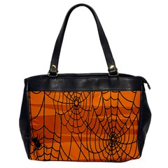 Vector Seamless Pattern With Spider Web On Orange Office Handbags by BangZart
