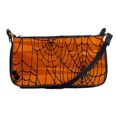 Vector Seamless Pattern With Spider Web On Orange Shoulder Clutch Bags by BangZart
